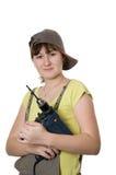 Giovane donna e trivello fotografie stock libere da diritti