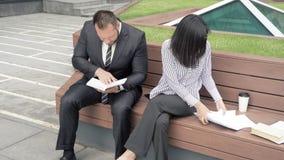 Giovane donna ed uomo di affari che discute il progetto alla riunione archivi video