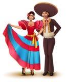 Giovane donna ed uomo in vestiti tradizionali nazionali messicani Fotografia Stock