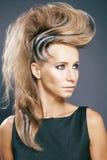 Giovane donna elegante con la zebra creativa di stile di capelli Immagine Stock Libera da Diritti