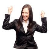Giovane donna emozionante di affari Immagini Stock