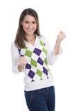 Giovane donna felice che celebra con le sue mani isolate su bianco Immagini Stock Libere da Diritti