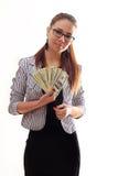 Giovane donna felice con i dollari a disposizione sopra l'immagine - una citazione dal presidente John F Fotografia Stock
