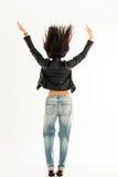Giovane donna felice da dietro Isolato su bianco Fotografie Stock