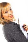 Giovane donna felice di affari. Isolato sopra bianco Fotografie Stock Libere da Diritti
