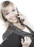 Giovane donna felice di affari. Isolato sopra bianco Fotografia Stock