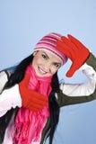 Giovane donna felice di inverno Immagine Stock