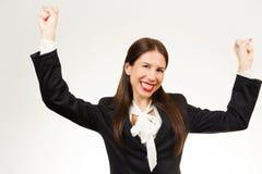 Giovane donna felice isolata di affari Fotografia Stock Libera da Diritti