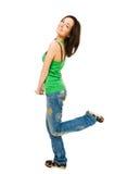 Giovane donna felice isolata su bianco Immagini Stock Libere da Diritti