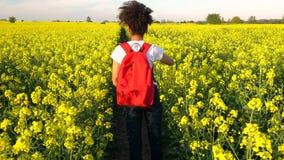 Giovane donna femminile dell'adolescente afroamericano della ragazza della corsa mista che fa un'escursione con lo zaino rosso video d archivio