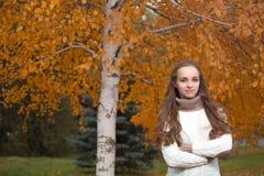 Giovane donna graziosa alla sosta di autunno Fotografia Stock