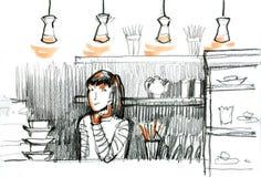 Giovane donna graziosa, ragazza nella barra Lo schizzo del barista della ragazza Caffè Illustrazione disegnata a mano Fotografia Stock