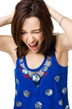 Giovane donna gridante isolata su priorità bassa bianca Fotografia Stock Libera da Diritti