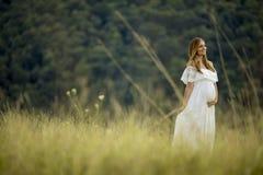 Giovane donna incinta che si rilassa fuori in natura fotografie stock libere da diritti