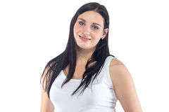 Giovane donna incinta sorridente felice Immagini Stock Libere da Diritti
