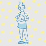 Giovane donna incinta Una signora in vestito rosa Fotografie Stock Libere da Diritti