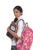 Giovane donna indiana dello studente di college con lo zaino Fotografie Stock