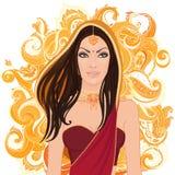 Giovane donna indiana in sari Immagine Stock Libera da Diritti
