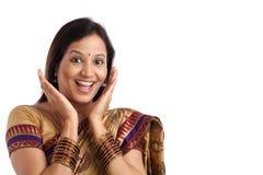 Giovane donna indiana sorpresa Fotografia Stock Libera da Diritti
