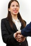 Giovane donna isolata di affari, stringente le mani Fotografia Stock