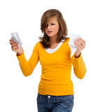 Giovane donna isolata su priorità bassa bianca Fotografia Stock Libera da Diritti