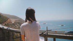 Giovane donna locale pacifica di vista posteriore che guarda bello paesaggio delle automobili che si spostano per il ponte iconic archivi video