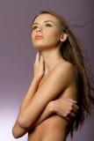 Giovane donna lunga del brunette dei capelli immagine stock