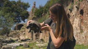 Giovane donna in maglietta verde che tiene nella vecchia tartaruga delle mani stock footage
