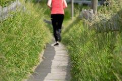 Giovane donna nel funzionamento di distanza lungo il percorso attraverso un campo di erba Fotografia Stock Libera da Diritti