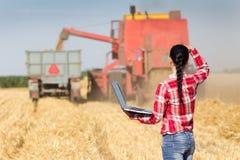 Giovane donna nel giacimento di grano durante il raccolto Fotografie Stock Libere da Diritti