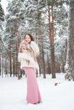 Giovane donna nell'inverno fotografie stock
