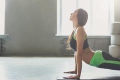 Giovane donna nella classe di yoga, asana di posa del cane Immagine Stock Libera da Diritti