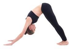Giovane donna nella posa di yoga isolata su bianco Fotografia Stock Libera da Diritti