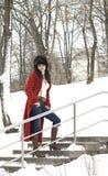Giovane donna nella sosta di inverno Fotografie Stock
