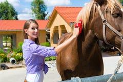 Giovane donna nella stalla con il cavallo Fotografie Stock
