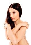 Giovane donna nuda che si siede sul pavimento Immagine Stock Libera da Diritti
