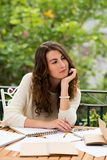Giovane donna Pensive Fotografia Stock Libera da Diritti