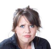 Giovane donna preoccupata; isolato su bianco Immagine Stock Libera da Diritti