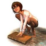 Giovane donna protettiva di vecchio libro Immagine Stock