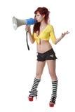 Giovane donna red-haired sexy con il megafono Fotografie Stock Libere da Diritti