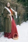 Giovane donna russa in un cappotto di pelliccia fotografia stock libera da diritti