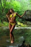 Giovane donna sexy che posa in bikini del progettista alla posizione esotica del fiume della montagna Fotografia Stock Libera da Diritti