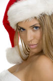 Giovane donna sexy che propone con la protezione della Santa fotografia stock libera da diritti