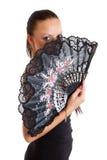 Giovane donna sexy con il ventilatore Fotografia Stock Libera da Diritti