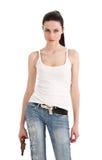 Giovane, donna sexy con la pistola. Fotografia Stock Libera da Diritti