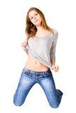 Giovane donna sexy sulle ginocchia Fotografia Stock Libera da Diritti