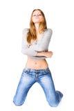 Giovane donna sexy sulle ginocchia Fotografie Stock