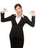 Giovane donna sicura allegra di affari Fotografie Stock Libere da Diritti
