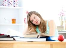 Giovane donna sollecitata che studia nella sua cucina Immagine Stock