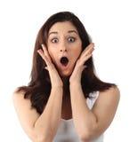 Giovane donna sorpresa del brunette Immagini Stock Libere da Diritti